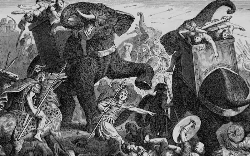 Bir sanatçının betiminde, Hannibal'ın ordusu Alpleri geçtiği sırada bir çatışmaya giriyor.