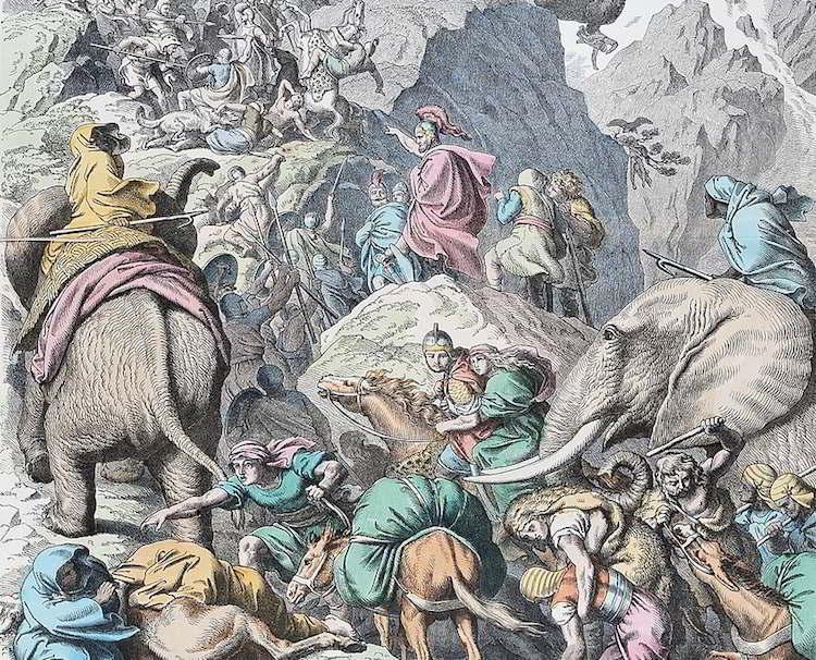 Hannibal'ın Alplerden geçerken yol aldığı uzun ve tehlikeli rota bir sanatçı tarafından sahnelenmiş.