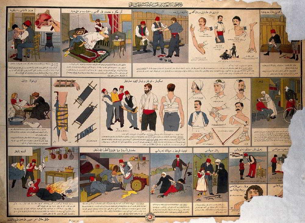Osmanlı Hilal-i Ahmer Cemiyeti (Kızılay) İlk Yardım Broşürü - 1910'lar