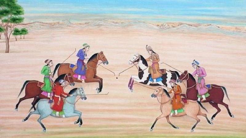 Nur Cihan'ın diğer kadınlarla polo oynarken tasvir edildiği bir resim.