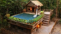 İlkel Yöntemlerle Bambulardan Yüzme Havuzu Yapımı