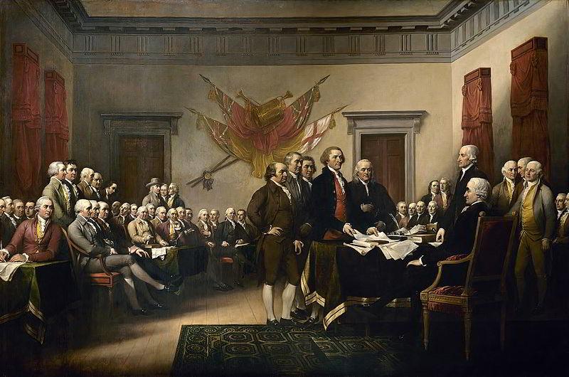 Bağımsızlık Bildirgesi çalışmalarını Kongreye sunacak olan beş kişilik taslak kurulu - Resim John Trumbull