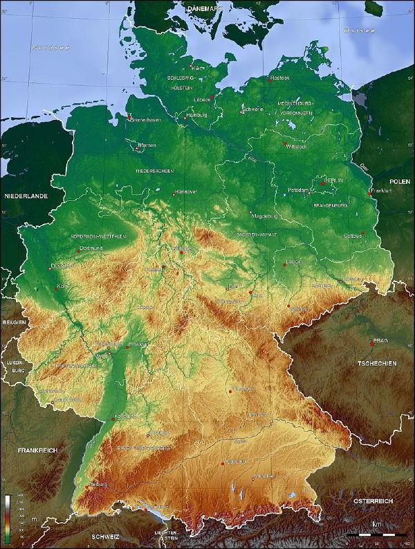 Almanya topografik haritası
