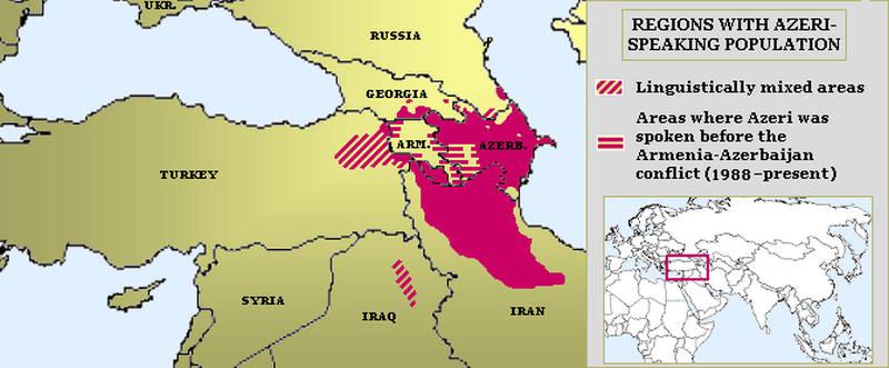 Azerice'nin konuşulduğu yerleri gösteren harita.