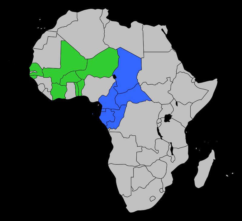 CFA frangının kullanıldığı ülkeler: Yeşil: Batı Afrika CFA frangı, mavi:  Orta Afrika CFA frangı