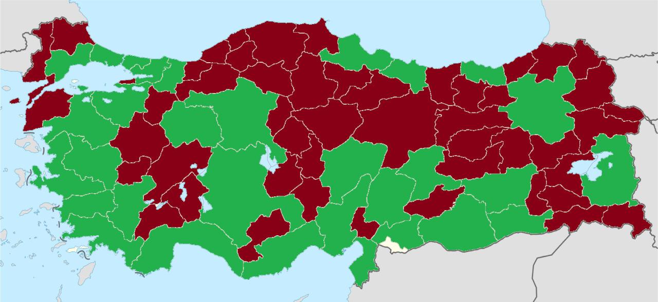 Yeşil: Büyükşehir Belediyeleri - Kırmızı: Belediyeler