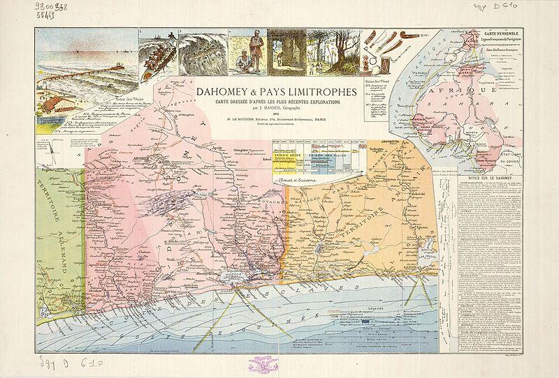 Fransa Afrika koloni bölgesi haritası - 1892