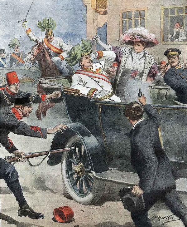 Avusturya Arşidükü Franz Ferdinand ve eşi Prenses Sophie'nin Saraybosna'daki suikastı,  I. Dünya Savaşı'nın çıkmasına neden oldu