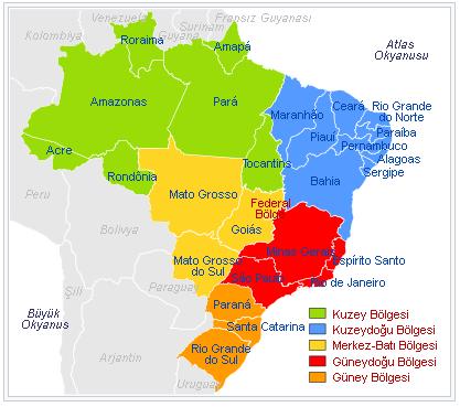 Brezilya Eyaletler haritası