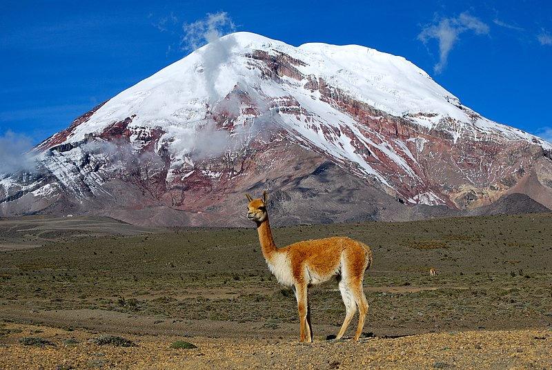 Chimborazo, 6310 metre yüksekliğinde sönmüş bir volkan. Ekvador'un en yüksek dağıdır. Zirvesi Yeryüzü'nün en uç noktasıdır.