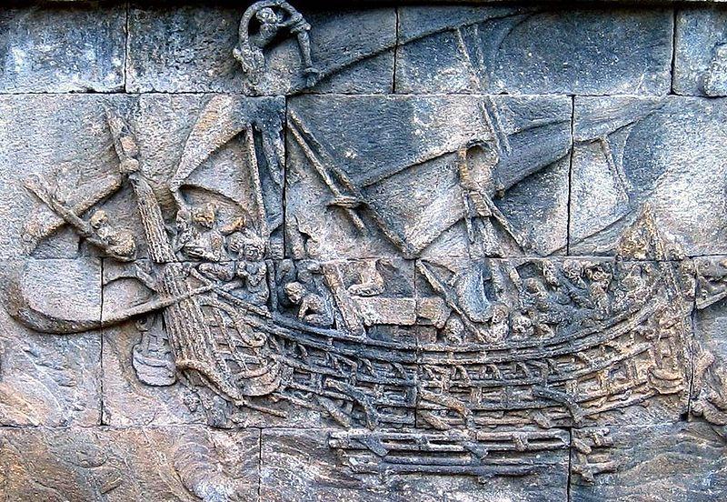 MS 800'lü yıllarda Borobudur tapınağına işlenmiş bir resim. Endonezyalı gemiciler milattan sonra birinci yüzyılın başlarında Afrika'nın doğu kıyılarına ticaret seferleri düzenlemiş olabilirler.
