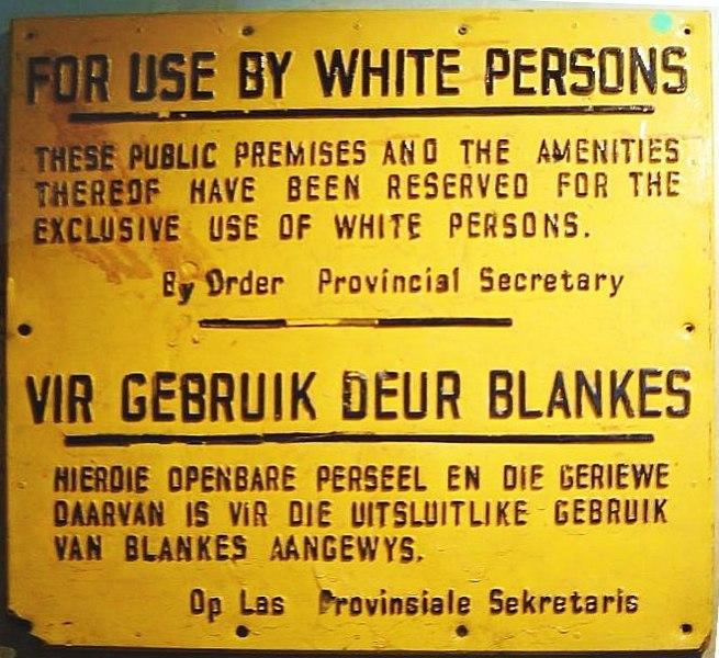 Apartheid dönemi - <i>Sadece beyazlar için</i> uyarısını içeren bir tabela
