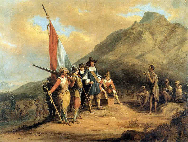 Jan van Riebeeck'in Ümit Burnu'na gelişini gösteren portre
