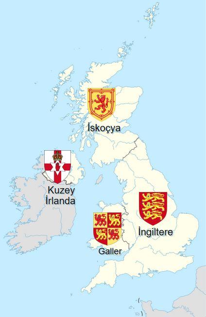 Birleşik Krallık dört devletten meydana gelir: Galler, İngiltere, İskoçya ve Kuzey İrlanda