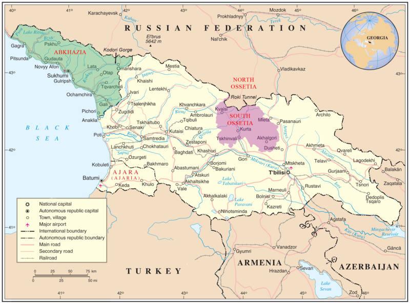 Güney Osetya (mor) ve Abhazya'yı (yeşil) vurgulayan Gürcistan Haritası