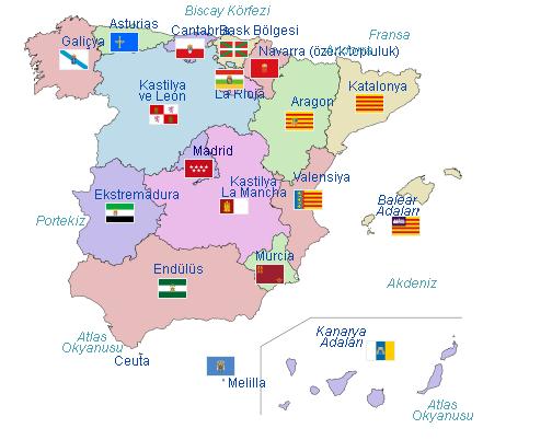 İspanya özerk yönetim birimleri.