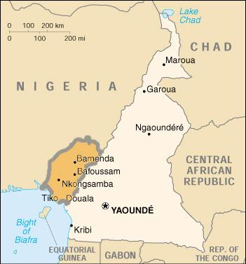Güney Kamerun'un Kamerun içerisindeki konumu