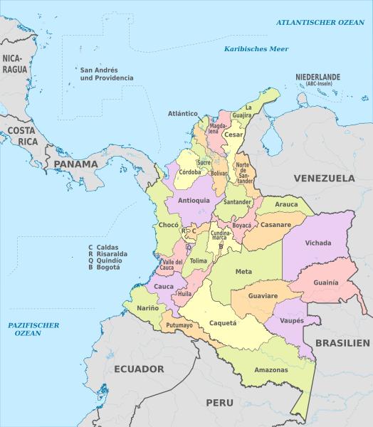 Kolombiya Cumhuriyeti'nin departmanları