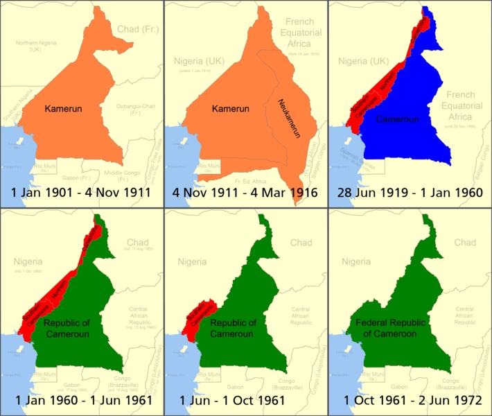 Turuncu: Almanya sömürgesi, Kırmızı: 1.Dünya Savaşı sonrası İngiliz Kamerunu, Mavi: 1.Dünya Savaşı sonrası Fransız Kamerunu, Yeşil: 1960 yılında itibaren bağımsız Kamerun