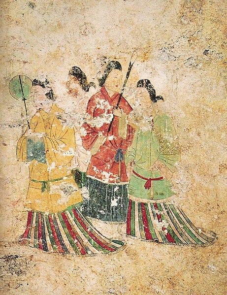 Takamatsuzuka mezarının duvarında bulunan duvar resmi, Asuka, Nara, 8. yüzyıl