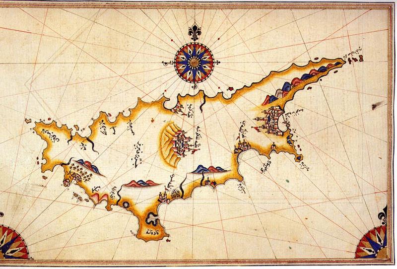 Osmanlı İmparatorluğu'nda denizci olan Piri Reis'in Kitab-ı Bahriye adlı eserinde yer verdiği tarihi Kıbrıs haritası