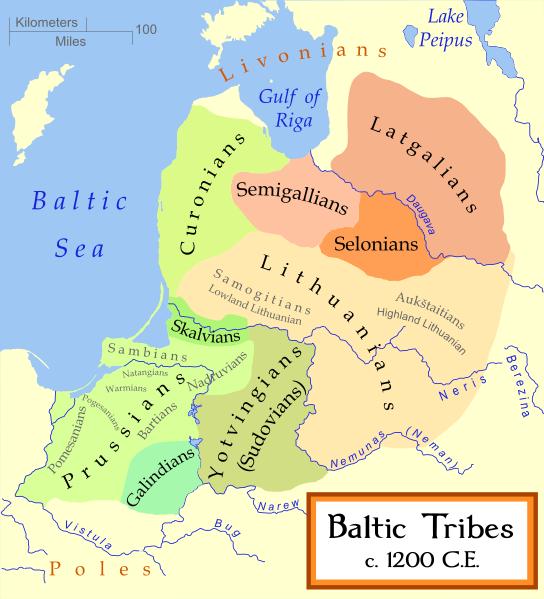 1200 yılında Baltık kavimlerinin yaşadığı bölgeler
