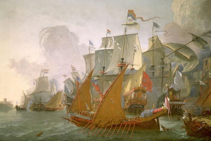 1670 yılında Hollanda gemileri, Berberi Korsanları'na karşı bir ceza seferinde Trablus'u bombalarken.