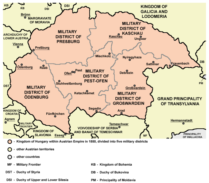 1850 yılında Macaristan Krallığı'nın toprakları