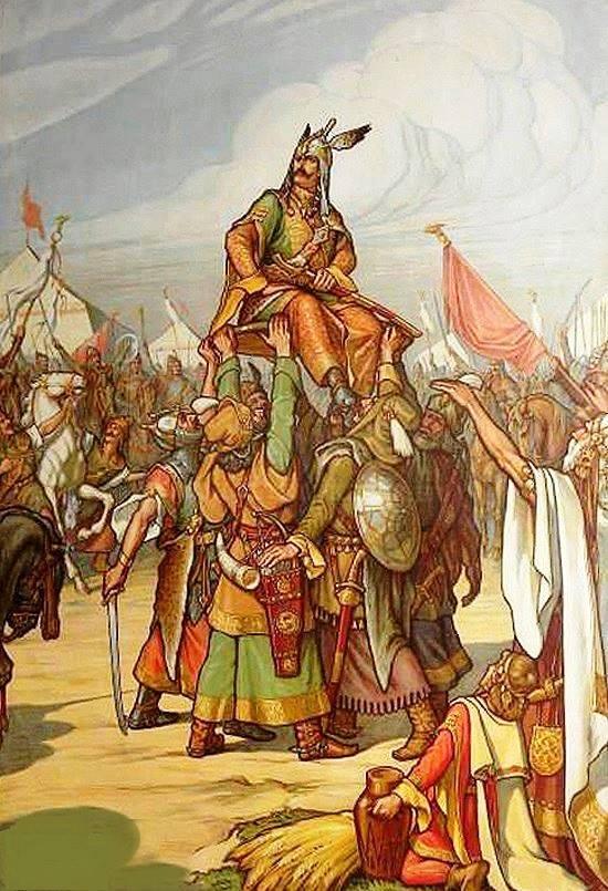 Macar Kralı Arpad'ın Türk usulü kalkan üstünde tahta çıkartılması