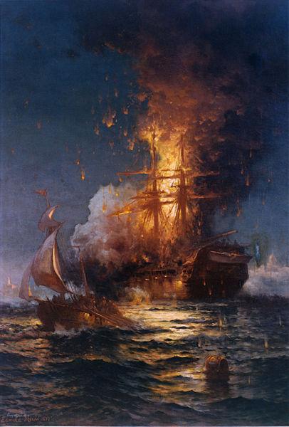 Edward Moran tarafından 1897 tarihinde çizilmiş 16 Şubat 1804 tarihinde Birinci Berberi Savaşı sırasında Trablusgarp kıyılarında ABD'ye ait USS Philadelphia adlı fırkateynin yanışı.
