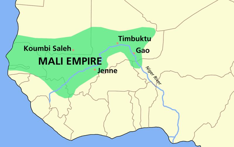 Mali imparatorluğunun tairhteki en geniş sınırları