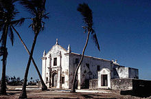 Mozambik Adası'nda bulunan eski bir Portekiz kilisesi