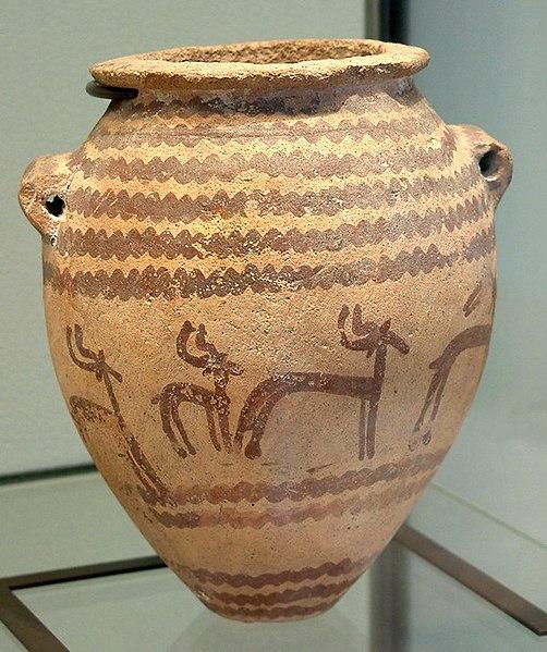 Tipik ceylanlar süslemiş toprak küp (Hanedan Öncesi, Naqada II)