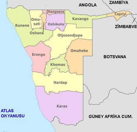 Namibya'nın bölgeleri