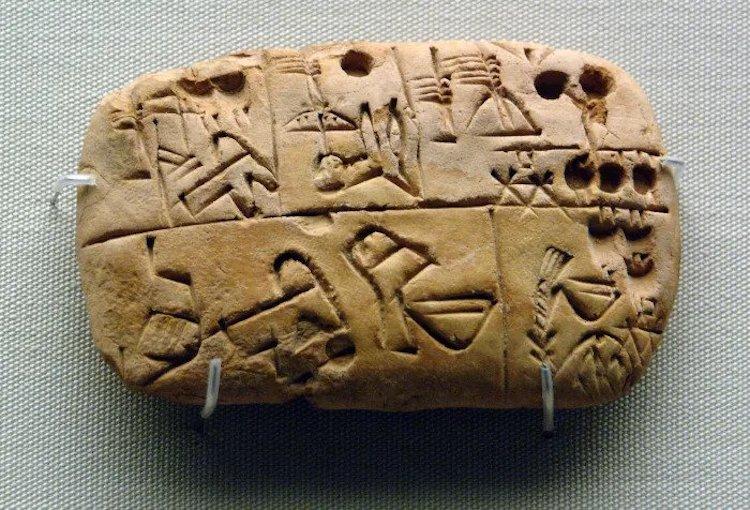 Besin kaynaklarının kaydını tutmak için piktogramlar kullanılarak oluşturulmuş erken yazı örneği.