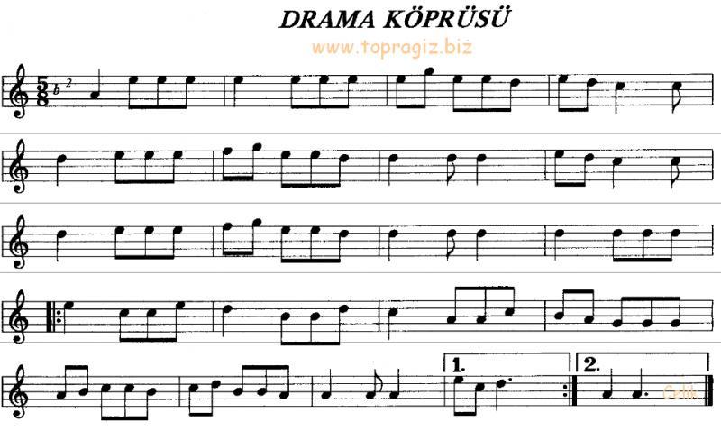 Drama K�pr�s� (Debreli Hasan) T�rk�s� S�z ve Notas�