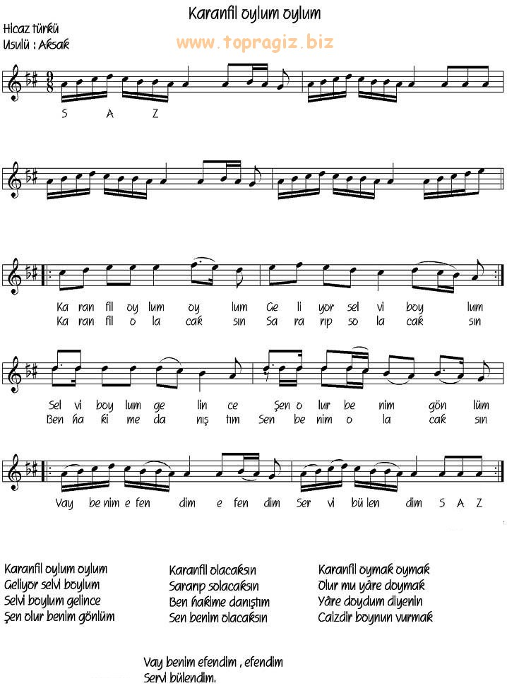 Karanfil Oylum Oylum Türküsünün Söz ve Notaları