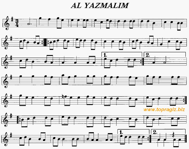 Selvi Boylum Al Yazmal�m T�rk�s� S�z ve Notas�