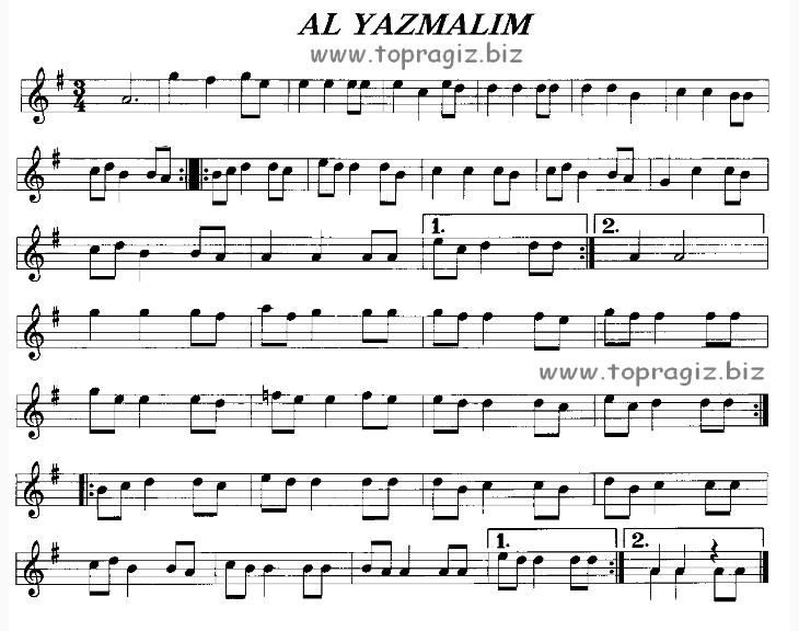 Al Yazmalım Türküsünün Söz ve Notaları