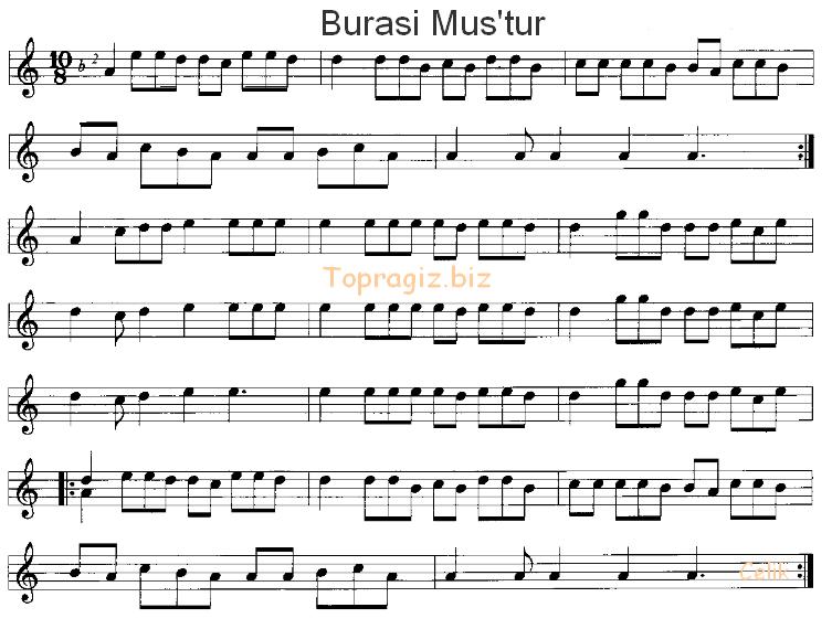 Burası Muştur Türküsünün Söz ve Notaları
