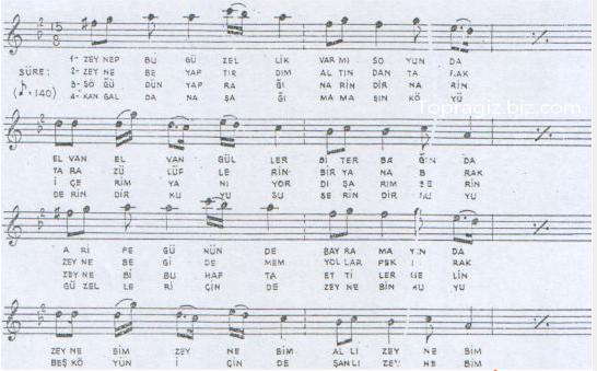 Zeynebim türküsünün söz ve notaları