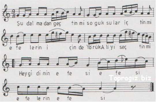 Efelerin Efesi (Şu Dalma'dan Geçtin Mi) Söz ve Notaları