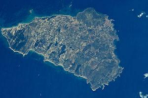 Çanakkale iline bağlı Bozcaada adasının uydu fotoğrafı