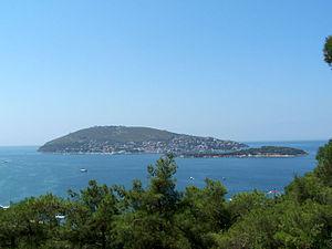 İstanbul iline bağlı Burgazada'nın Heybeliadadan görünümü