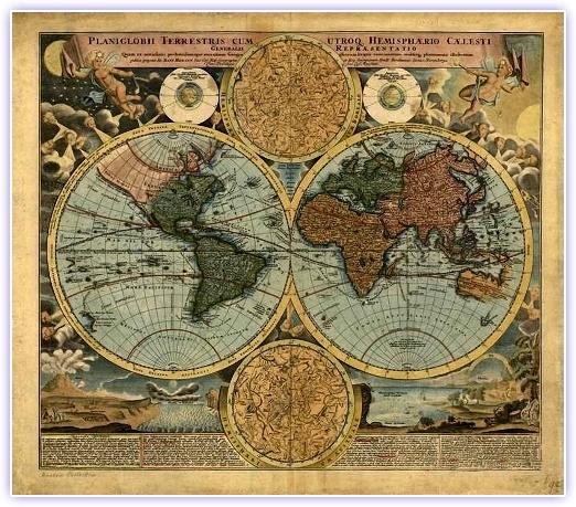 1800'li yılların başlarında Avrupa'da çizilmiş olan Dünya Haritası
