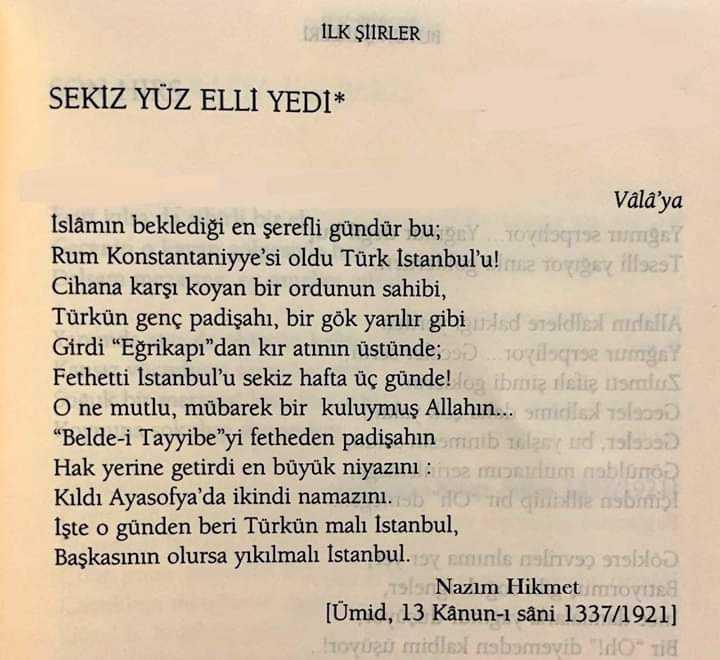 Nazım Hikmet'in İstanbul'un fethini anlatan 'Sekiz Yüz Elli Yedi' şiiri