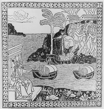 "Kolomb'un Amerika topraklarına ayak  basışını tasvir eden, 1493 tarihli ""La lettera del isole che ha trovato  il re di Spagna"