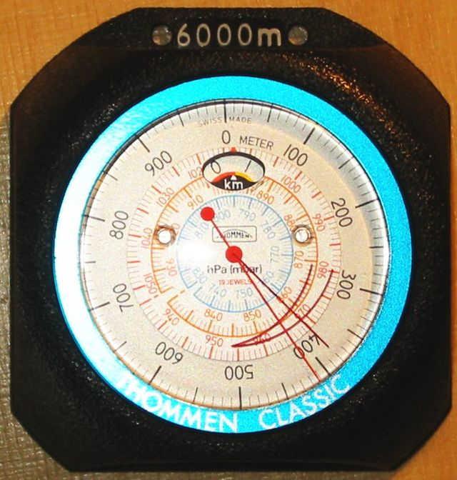Dağcılıkta kullanan bir altimetre