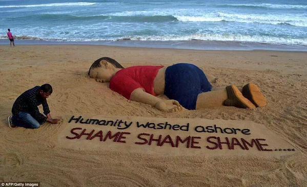 Suriyeli Aylan'ın Kumdan Heykeli Yapıldı