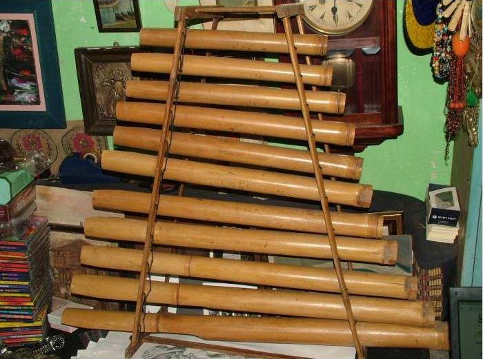 Bambudan yapılmış bir müzik aleti